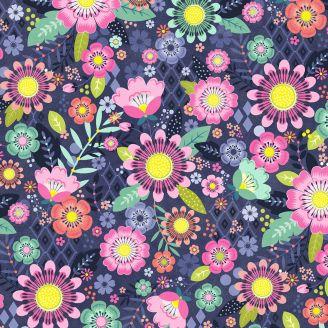 Tissu patchwork festival floral fond bleu ardoise - Bungalow