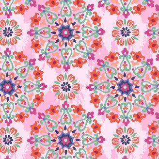 Tissu patchwork rosaces fond rose - Bungalow