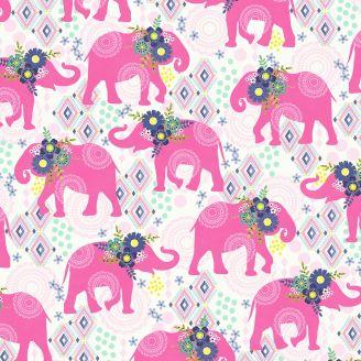 Tissu patchwork éléphants roses fond blanc - Bungalow