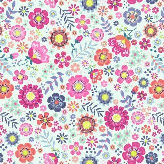 Tissu patchwork fleurs flirt roses fond blanc - Bungalow