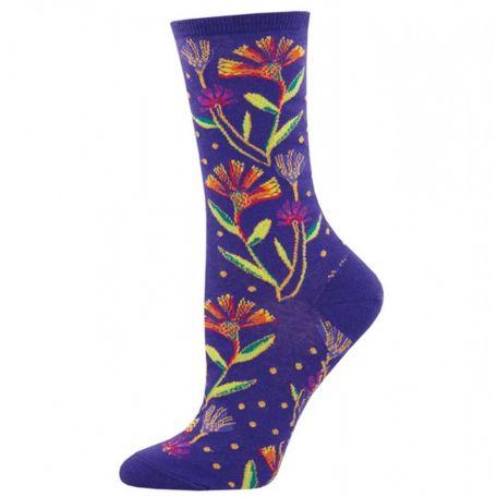 Chaussettes Laurel Burch Violet à fleurs