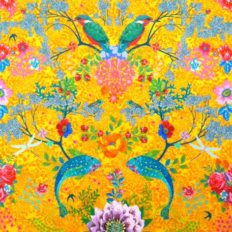 Tissu en coton Mare enchantée jaune