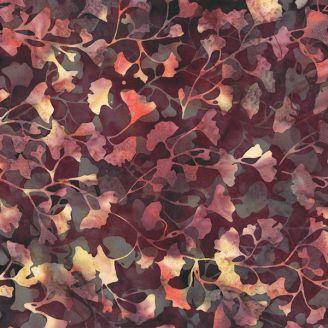 Tissu batik feuilles de ginkgo prune