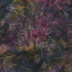 Tissu batik plumes de paon prune multicolore