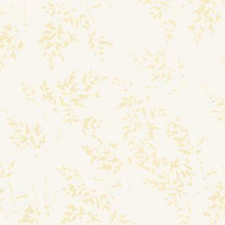 Tissu batik feuilles beiges fond écru