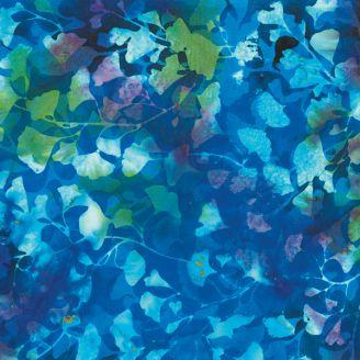 Tissu batik feuilles de ginkgo bleu vert
