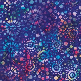 Tissu batik vitrail multicolore bleu
