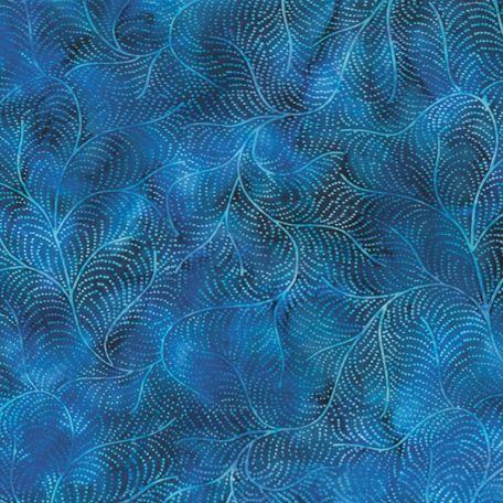 Tissu batik plumes de paon bleues azur