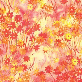 Tissu batik petites fleurs des champs orangées