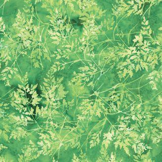 Tissu batik feuilles vertes