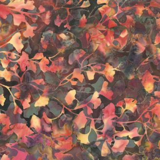 Tissu batik feuilles de ginkgo automne