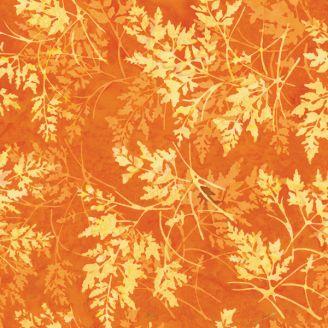 Tissu batik feuilles orange rouille