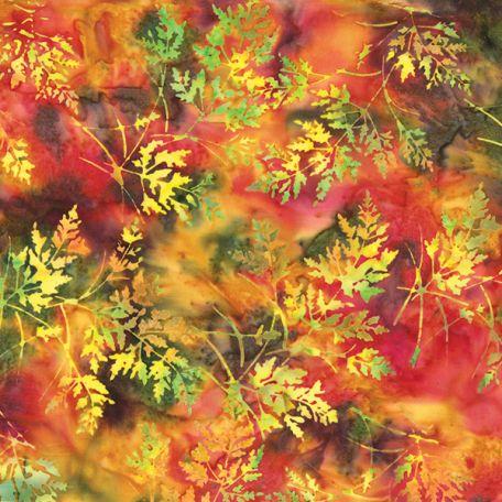 Tissu batik feuilles orange vert