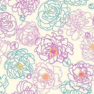 Tissu patchwork pivoines fond beige - Primavera