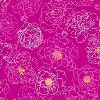 Tissu patchwork pivoines violines - Primavera