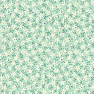 Tissu patchwork petites fleurs menthe à l'eau - Primavera