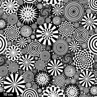 Tissu patchwork psychédélique années 70 noir et blanc - Dances Moves