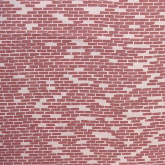 Tissu patchwork briquettes terracotta fond rose