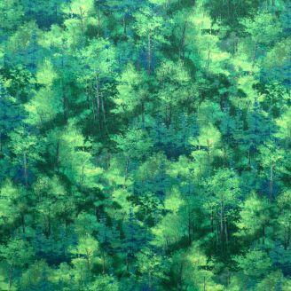 Tissu patchwork forêt d'arbres vert tropical
