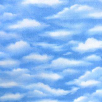 Tissu patchwork nuages dans le ciel bleu clair