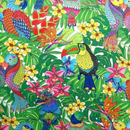 Tissu patchwork jungle tropicale avec toucan et perruches