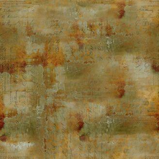 Tissu patchwork écritures vieillies couleur sienne - Abandoned de Tim Holtz