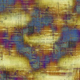 Tissu patchwork violet et ocre patiné - Abandoned de Tim Holtz