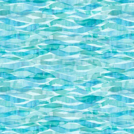 Tissu patchwork vagues bleu niagara