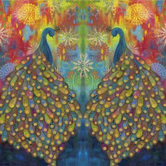 Panneau de tissu patchwork paons majestueux 114 x 112 cm