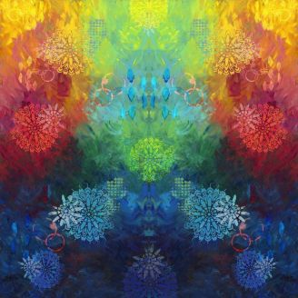 Panneau de tissu patchwork rosaces multicolores 112 x 112 cm
