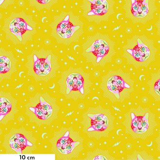 Tissu patchwork Tula Pink Chat du Cheshire fond jaune - Curiouser and Curiouser