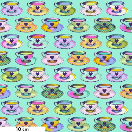 Tissu patchwork Tula Pink Tea time tasses de thé fond turquoise - Curiouser and Curiouser