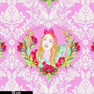 Tissu patchwork Tula Pink Alice au Pays des merveilles rose (22 x 110 cm) - Curiouser and Curiouser
