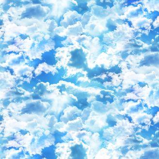 Tissu patchwork nuages bleu dans le ciel