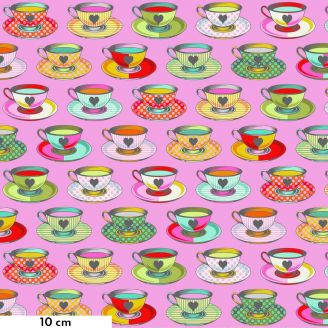 Tissu patchwork Tula Pink Tea time tasses de thé fond rose - Curiouser and Curiouser