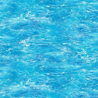 Tissu patchwork vagues dans l'océan bleu clair