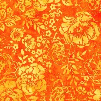 Tissu batik jardin de pivoines oranges