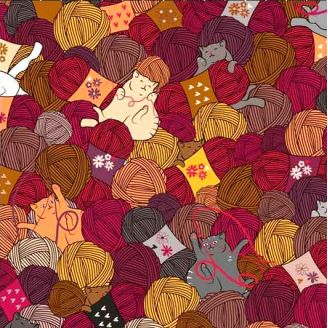 Tissu patchwork petits chats et pelotes de laine