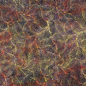 Tissu batik plumes de paon jaune et chocolat