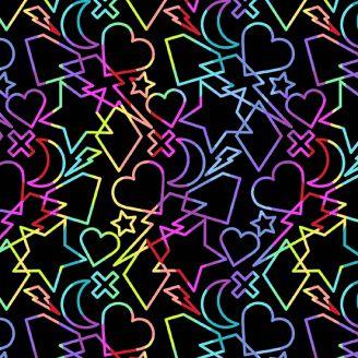 Tissu patchwork formes géométriques multicolores fond noir - Beguiled