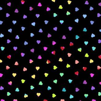 Tissu patchwork petits coeurs multicolores fond noir - Beguiled