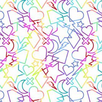 Tissu patchwork formes géométriques multicolores fond blanc - Beguiled