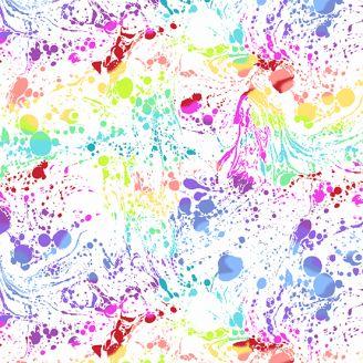 Tissu patchwork éclaboussures multicolores fond blanc - Beguiled