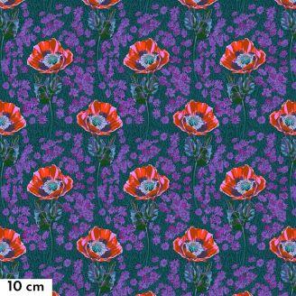 Tissu patchwork Anna Maria Horner Coquelicots fond vert émeraude - Bright Eyes