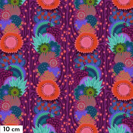 Tissu patchwork Anna Maria Horner grandes fleurs en guirlandes prune - Bright Eyes