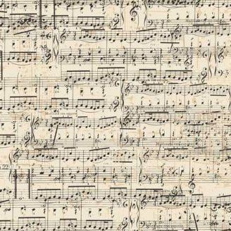 Tissu patchwork partitions de musique fond beige