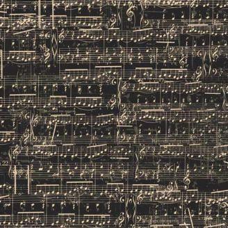 Tissu patchwork partition de musique fond noir