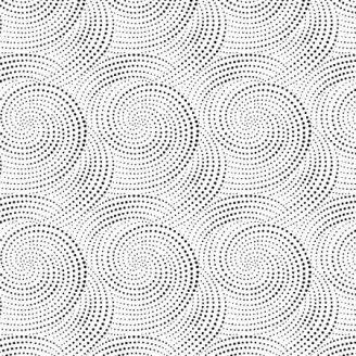 Tissu patchwork spirales de pointillés noirs fond blanc