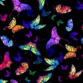Tissu patchwork papillons multicolores fond noir - Butterfly Magic