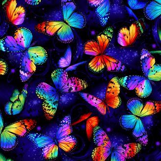Tissu patchwork grands papillons multicolores fond bleu nuit - Butterfly Magic